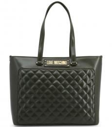 Love Moschino Dark Green Quilted Large Tote