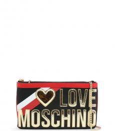Love Moschino Black Metallic Logo Clutch