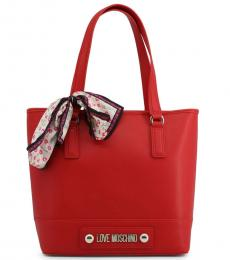 Love Moschino Red Scarf Large Tote