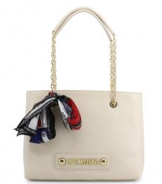 Love Moschino White Scarf Medium Tote