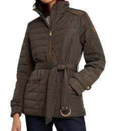 Ralph Lauren Dark Moss Belted Quilted Jacket