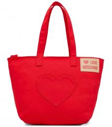 Love Moschino Red Heart Pocket Large Tote