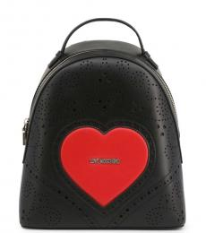 Love Moschino Black Perforated Medium Backpack