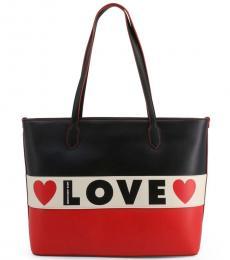 Love Moschino Black Logo Stripe Large Tote