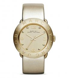 Marc Jacobs Gold Leather Strap Watch
