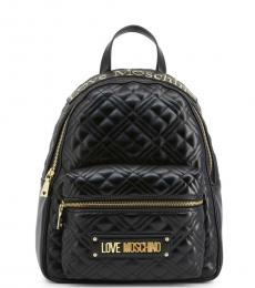 Love Moschino Black Quilted Medium Backpack