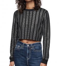 True Religion Black Crystal Crewneck Sweatshirt