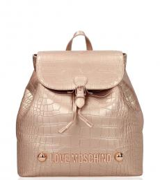 Rose Gold Textured Small Backpack