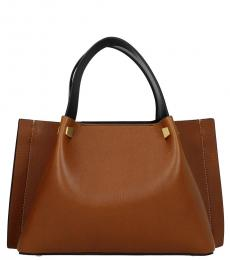 Brown Solid Small Tote