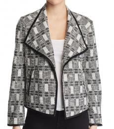 Calvin Klein BlackWhite Tweed Leather Trim Jacket