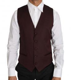 Dolce & Gabbana Dark Purple Wool Silk Waistcoat Vest