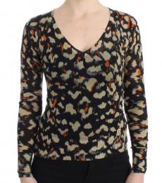 Cavalli Class Multi color V-Neck Wool Sweater Top