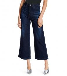 AG Adriano Goldschmied Dark Blue High Rise Crop Flare Jeans