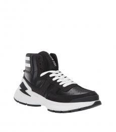 Neil Barrett Black White Varsity Bolt Sneakers