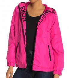 Michael Kors Neon Pink Hooded Logo Plush Jacket