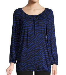 Royal Blue Printed Long-Sleeve Top