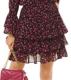 Pink Floral Georgette Ruffled Skirt