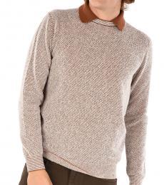 Ermenegildo Zegna Light Brown Silk Cashmere Jumper