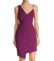 BCBGMaxazria Imperial Plum Asymmetric Evening Dress