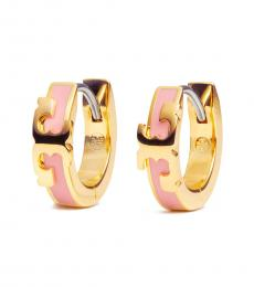 Gold-Pink Enamel Huggie Hope Earrings
