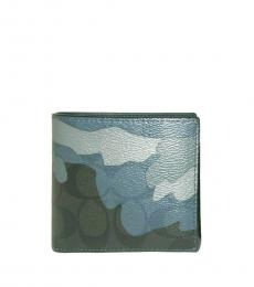 Coach Blue 3 IN1 Signature Camouflage Wallet