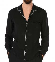 Dolce & Gabbana Black Piping Silk Shirt