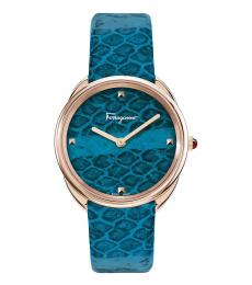 Salvatore Ferragamo Teal Cuir Watch
