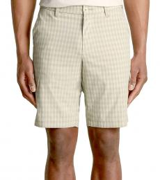 Beige About That Check Shorts