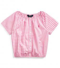 Ralph Lauren Little Girls Pink Mixed-Gingham Top