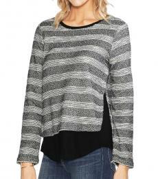 Vince Camuto Black Gauze Stripe Knit Sweater