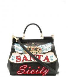 Black Siciliy Santa Small Satchel