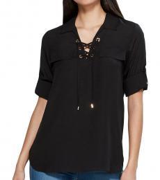 Calvin Klein Black Crepe Lace-Up Shirt