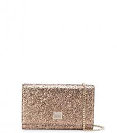 Jimmy Choo Brown Lizzie Glitter Clutch