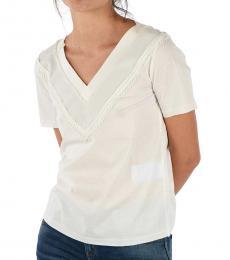 Emporio Armani White V-Neck Embroided Top