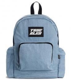 True Religion Denim Blue Logo Medium Backpack