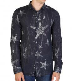 Armani Jeans Navy Blue Printed Slim Fit Shirt