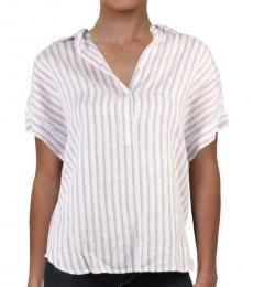 Ralph Lauren White Linen Striped Tee Blouse