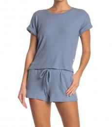 Lucky Brand Light Blue Ribbed Hacci Sleepwear 2-Piece Set
