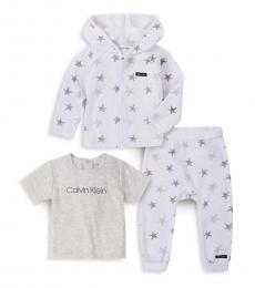 Calvin Klein 3 Piece Cardigan/T-Shirt/Pants Set (Baby Boys)