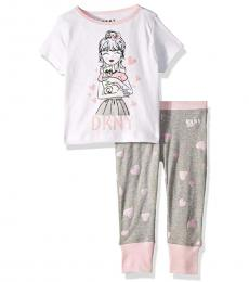 DKNY 2 Piece T-Shirt/Pajama Pants Set (Little Girls)