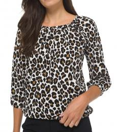 Michael Kors Caramel Animal-Print Cotton Peasant Top