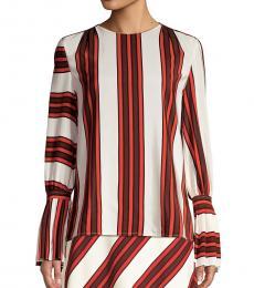 Tory Burch Maverick Stripe Flare-Sleeve Silk Blouse