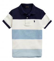 Ralph Lauren Little Boys Blue Multi Striped Mesh Polo
