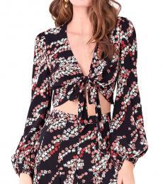 Diane Von Furstenberg Breeze Black Floral Crop Top