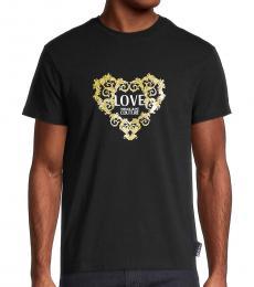 Versace Jeans Black Metallic Logo T-Shirt