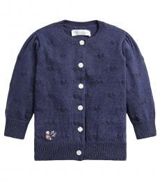 Ralph Lauren Baby Girls Navy Knit-Heart Cardigan