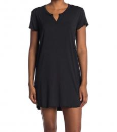 UGG Black Split Neck Solid Nightshirt