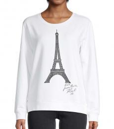 Karl Lagerfeld Soft White Eiffel Tower Cotton-Blend Sweatshirt