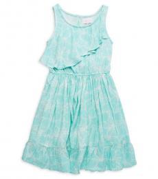 BCBGirls Girls Turquoise Ruffle Floral Dress