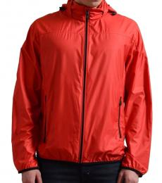 Red Hooded Windbreaker Jacket
